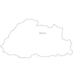 Black White Bhutan Outline Map vector image