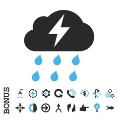 Thunderstorm flat icon with bonus vector