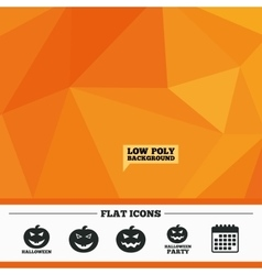 Halloween party icons pumpkin symbol vector