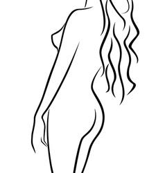 Beautiful abstract female body half turn back vector