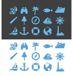 Big set of Nautical icons for Vacation and Travel vector image vector image