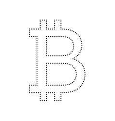 Bitcoin sign black dotted icon on white vector