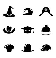 Black helmet and hat icons set vector