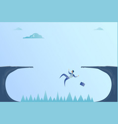 Business man falling in cliff gap problem finance vector