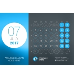 Calendar Template for July 2017 Design vector image vector image