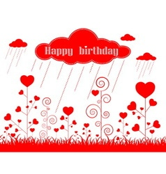 card heart pattern and happy birthday vector image vector image