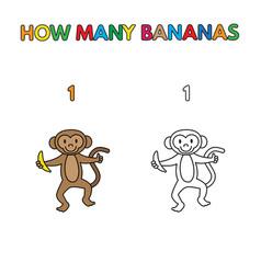 Cartoon monkey counting bananas coloring book vector