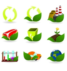 Collection of ecology icons vector