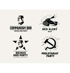 Communism style logos restaurant bar design vector