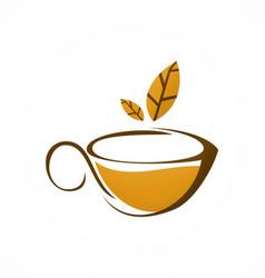 cup tea brown leaf herbal logo vector image vector image