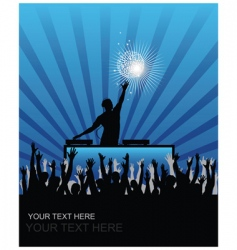dj cheering audience vector image vector image