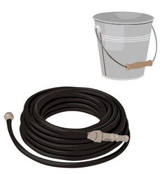 Garden set with hose and bucket vector