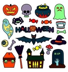 Halloween patches set vector