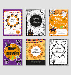halloween set of trendy postershappy halloween vector image vector image
