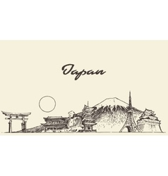 Japan skyline drawn sketch vector image vector image