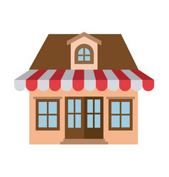 Light color silhouette of store with awning and vector