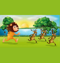 Lion and deers running in the park vector