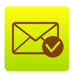 mail sign with allow mark vector image vector image