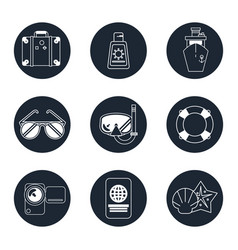 Monochrome icons set of beach vacation in round vector