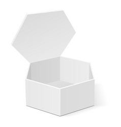 open white cardboard hexagon box packaging for vector image vector image
