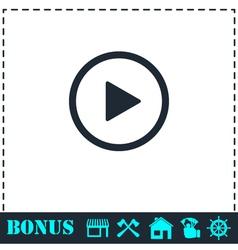 Play button icon flat vector