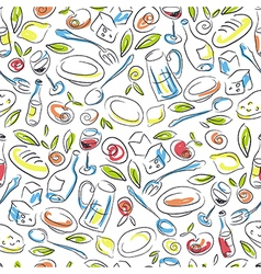 Restaurant Colorful Hand-drawn Seamless Pattern vector image