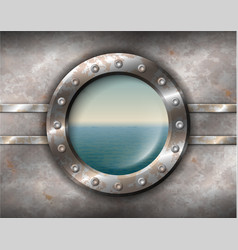 Rusty porthole with seascape vector