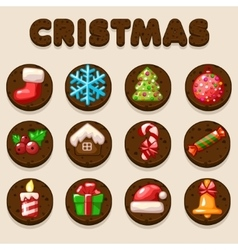 Set Cartoon Christmas Chocolate biskvit cookies vector image