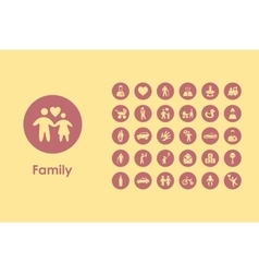 Set of family simple icons vector image vector image