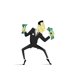 Successful Businessman dancing with money vector image vector image