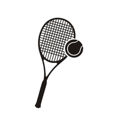 Tennis racket and ball monochrome icon vector