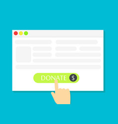 The browser window with the donate button vector
