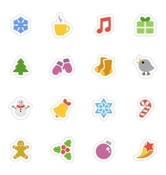 Winter flat stickers icon set on white vector