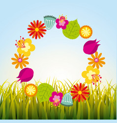 Wreath of flowers vector