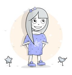 young happy girl smiling modestly looking up vector image