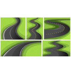 Scenes with different shapes of roads vector