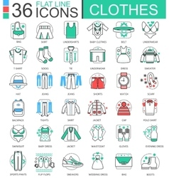 Clothes shoes flat line outline icons for vector image
