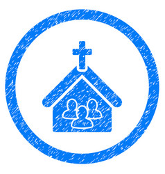 church rounded grainy icon vector image
