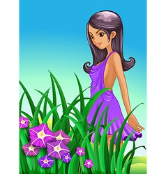 A sexy lady wearing a purple dress standing near vector image
