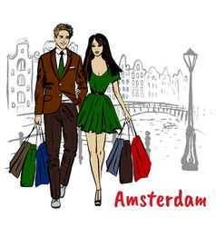 Woman and man with shopping bags vector