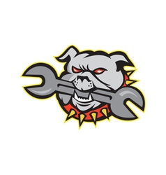 Bulldog dog spanner head mascot vector
