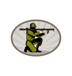 World war two soldier aiming bazooka side vector