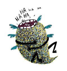 Hand drawn sketchy monster laughing vector