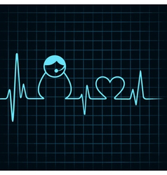 Heartbeat make a contact us icon and heart symbol vector