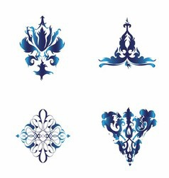 Set of Damask Ornamental Elements Blue Ele vector image