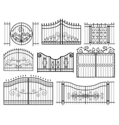 Iron gates icons vector