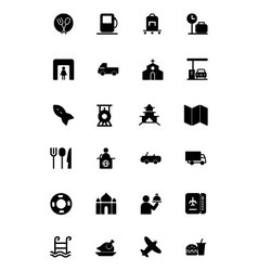 Travel solid icons 5 vector