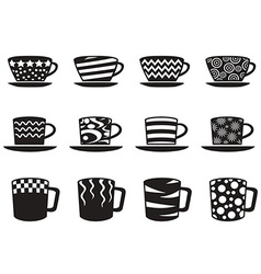 coffee cup with patterns icons set vector image