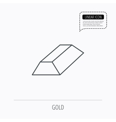 Gold bar icon banking treasure sign vector