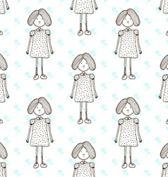 Sketch cute little girl vector image